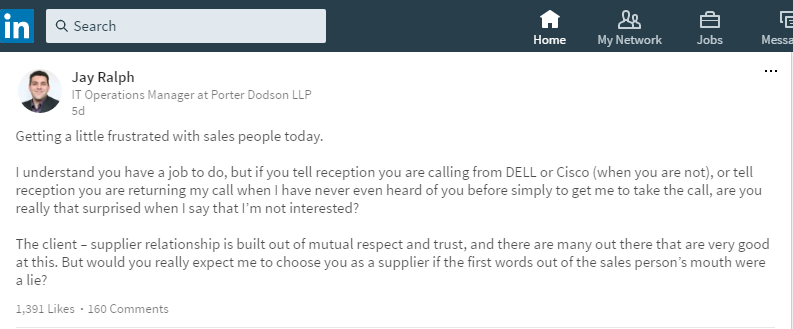 Porter Dobson IT Manager Makes a Case on LinkedIn Against Deceptive Cold Calls